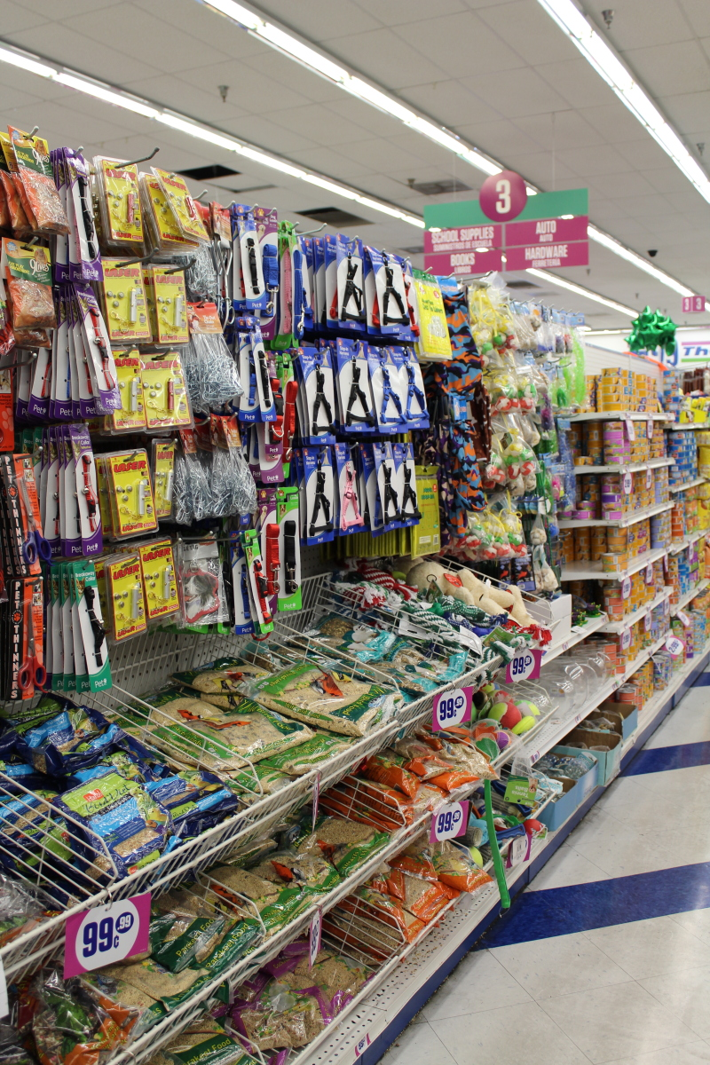 Pet supplies at the 99 cents only store