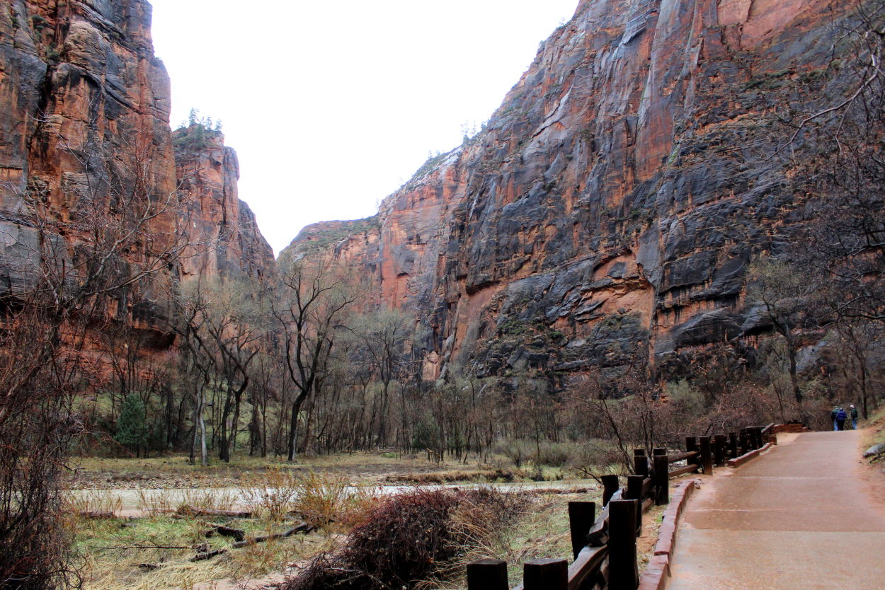 The Riverwalk trail in Zion is paved and easy to walk in the rain