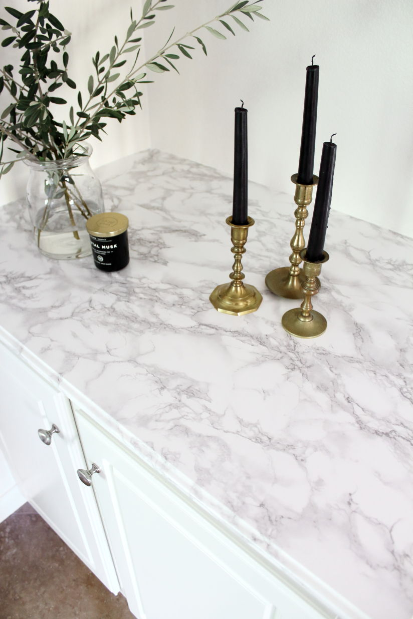 Close up of a marble contact paper countertop makeover