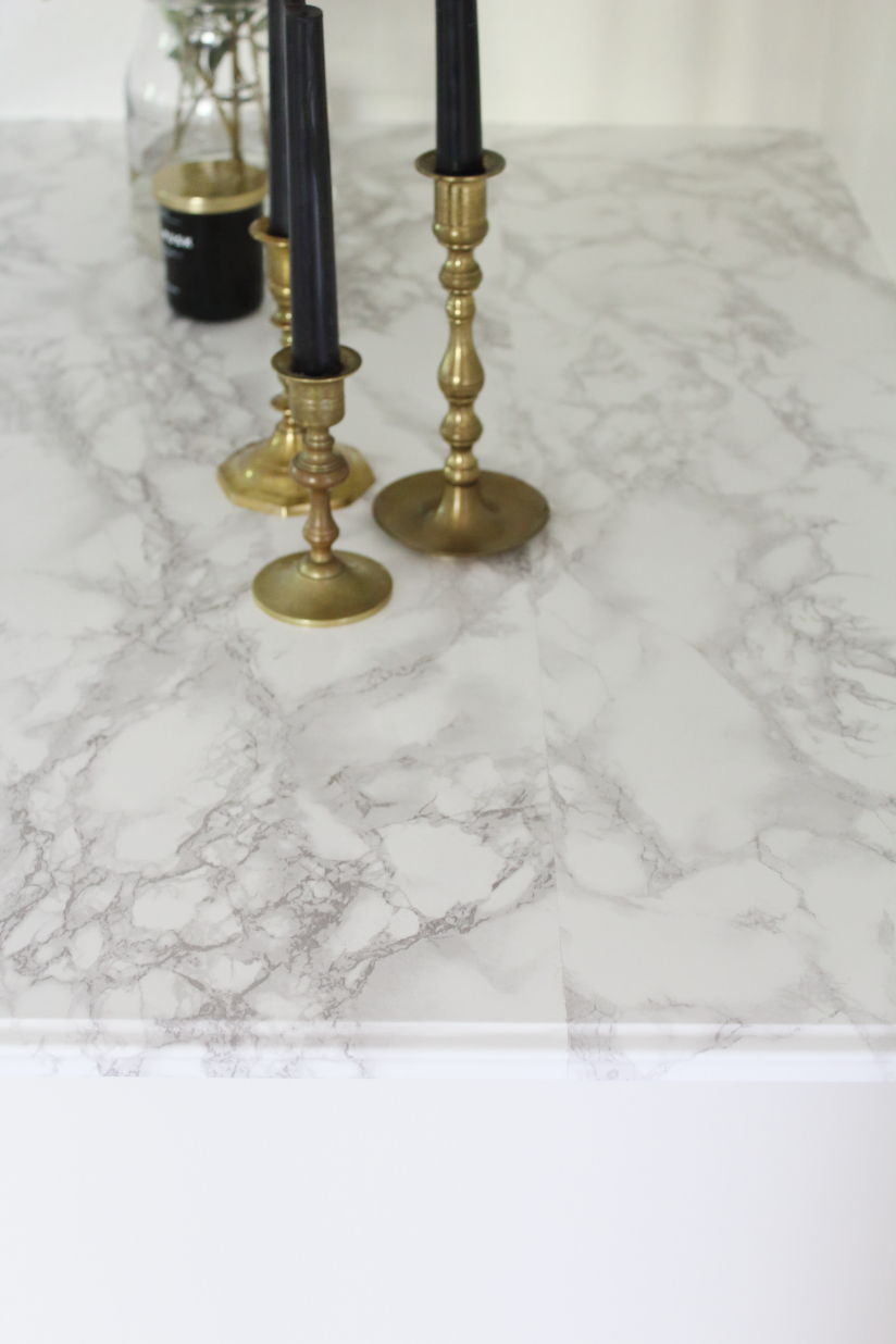What the seams look like when you do the marble contact paper countertop