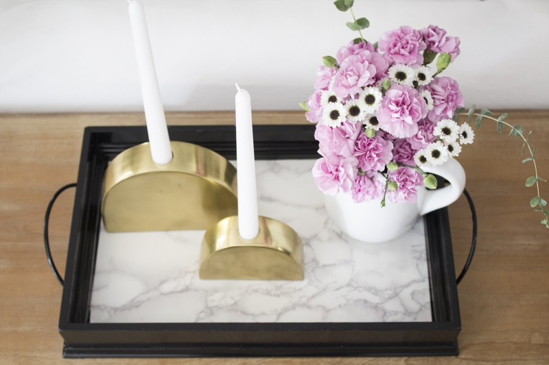 A tray lined with marble contact paper