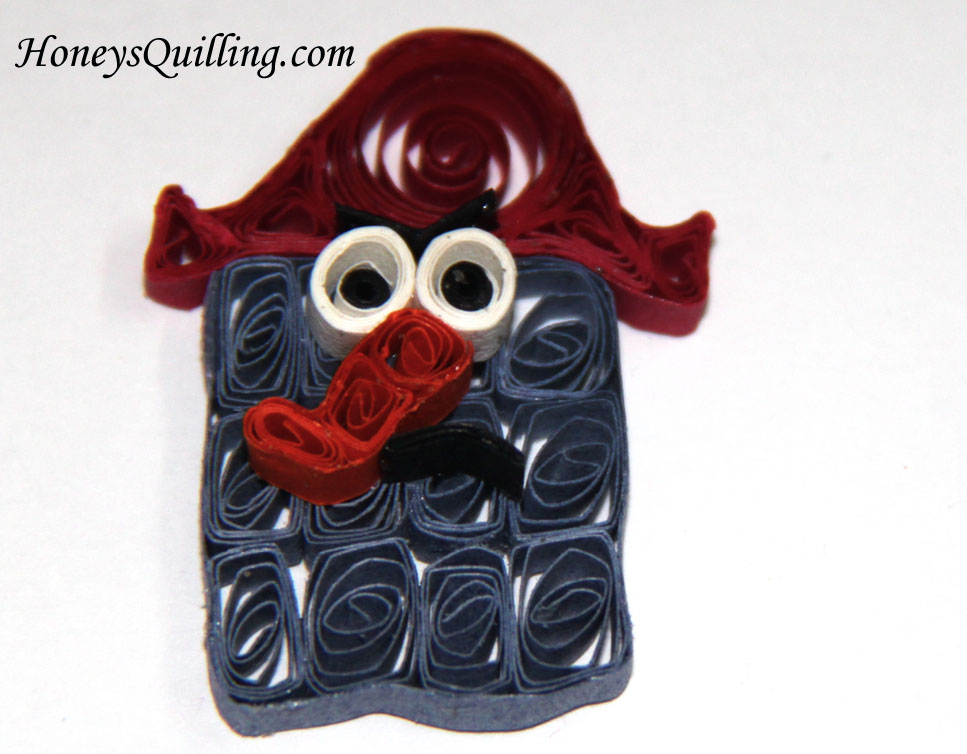 paper quilled character magnet - Captain K'Nuckles - by Honey's Quilling