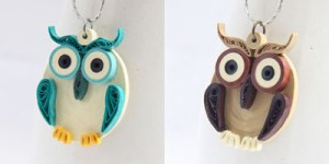 paper quilled owl pendants