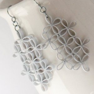 large lattice paper quilled wedding earrings