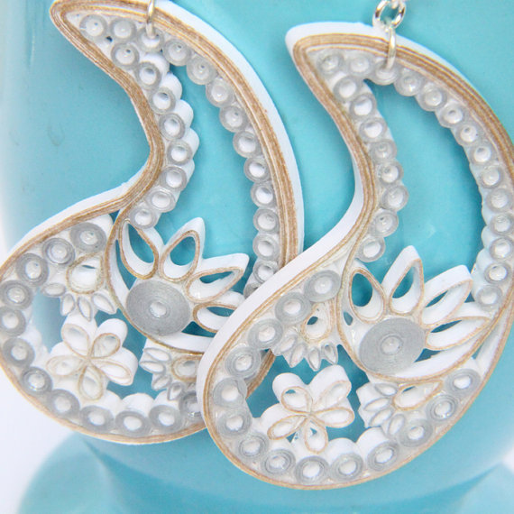eco friendly bridal paisley earrings