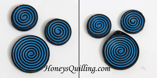 How to make spiral earring and pendant jewelry set.  A free paper quilling tutorial from Honey's Quilling