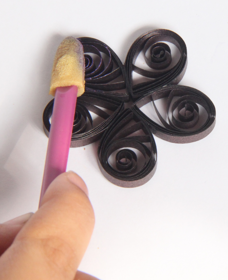 using mica watercolors on quilling paper