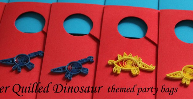 Paper Quilled Dinosaur Gift Bags and Doorknob Hangers