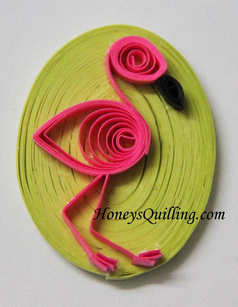 paper quilled flamingo design - Honey's Quilling