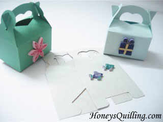 Party gift boxes decorated with paper quilling honeys quilling paper quilled gift favor treat boxes honeys quilling negle Image collections
