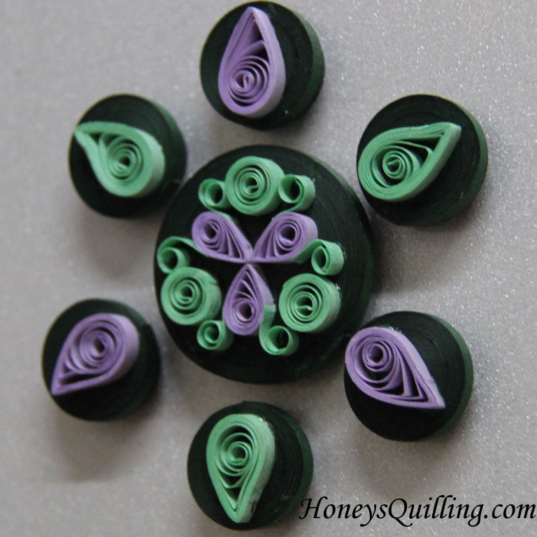 Rangoli design paper quilled magnet set - Honey's Quilling