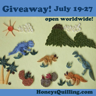 giveaway open worldwide - paper quilling kit - dinosaurs and prehistoric times