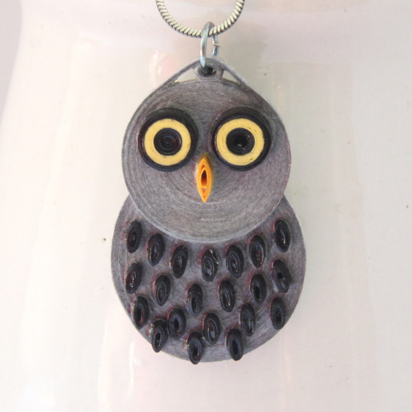 paper quilled grey barn owl by Honey's Quilling