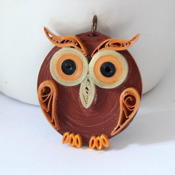 Rust brown paper quilled owl pendant by Honey's Quilling