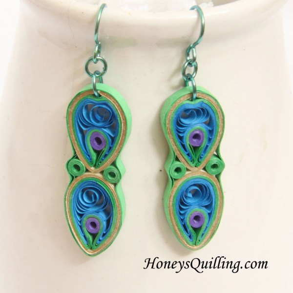 Quilling Papers Earrings: Peacock Design Paper Quilled Earrings Tutorial