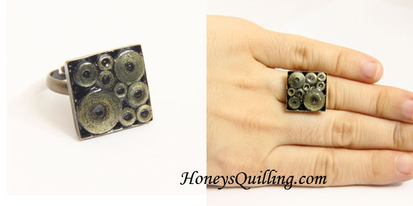 Free Tutorial - Paper Quilled Ring with Circle Design in Gold Edge Paper - Honey's Quilling