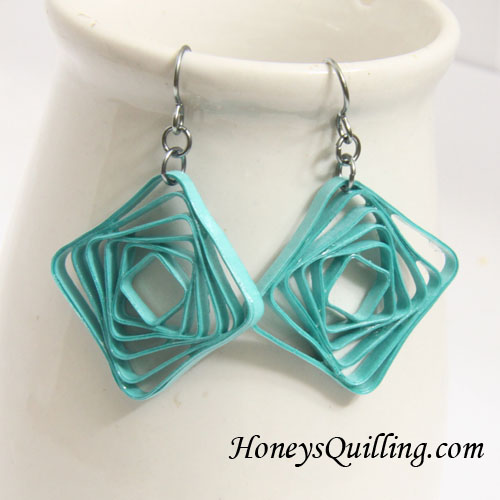 Modern Paper Jewelry - Square Spiral Earrings - Honey's Quilling