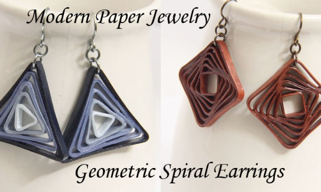 Geometric Spiral Earrings – Modern Paper Jewelry – Paper Quilling Art