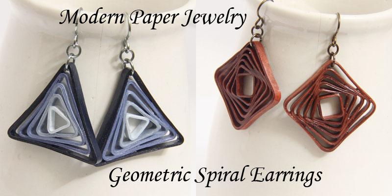 Geometric Spiral Earrings – Modern Paper Jewelry – Paper Quilling Art