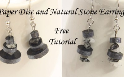 Paper Quilled Disc and Natural Stone Dangle Earrings – Free Modern Paper Quilling Earrings Tutorial