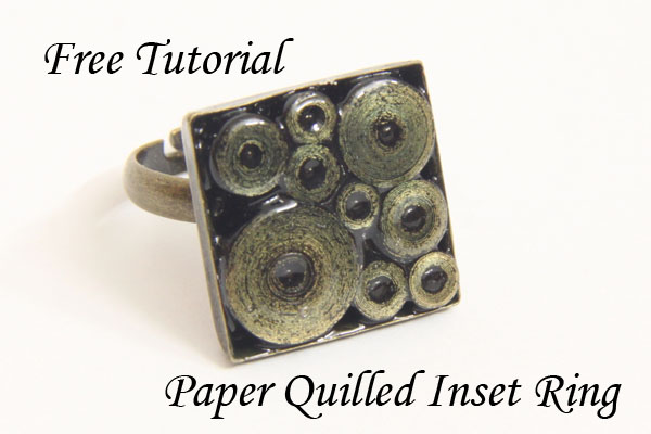 Free Tutorial – Paper Quilled Ring in Square Tray Ring – Gold Edged Circle Design
