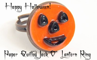 Halloween Jack O' Lantern Ring – Modern Paper Quilled Jewelry – Free Pattern
