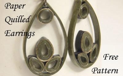 Paper Quilled Teardrop Earrings – Free Pattern