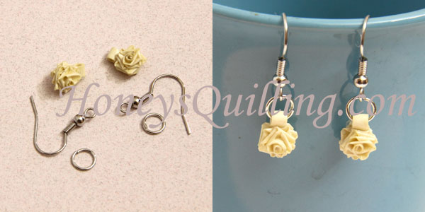 How to make tiny paper quilled rose earrings - free tutorial from Honey's Quilling