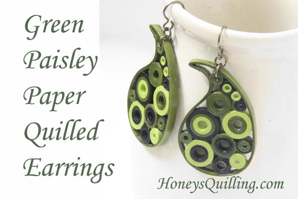 Green Paisley Paper Quilled Earrings – Eco Friendly Jewelry in Green Ombre or Green Camo