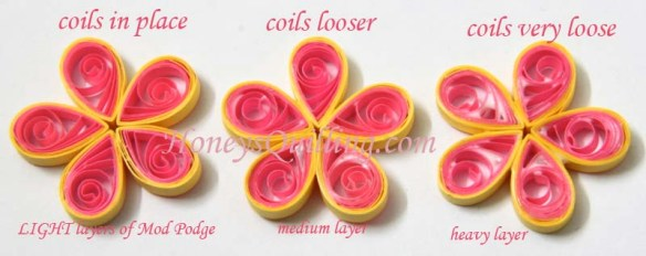 Using Mod Podge with paper quilled jewelry - part 4 - loose flowers - Honey's Quilling