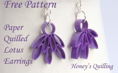 Paper Quilled Lotus Earrings – Free Pattern
