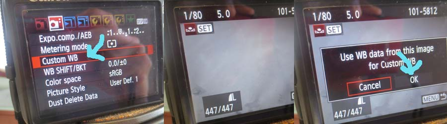 How to set custom white balance on Canon EOS 500D