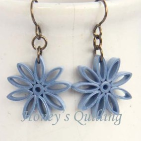 nine pointed star earrings - light blue