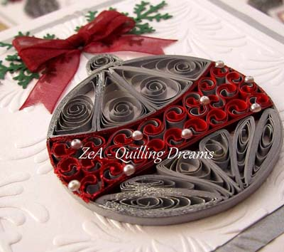 paper quilling christmas card ball ornament