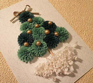 paper quilling christmas tree card fringed