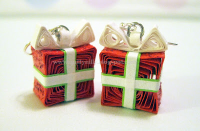 paper quilling christmas earrings gift
