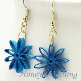 nine pointed star earrings - dark turquoise