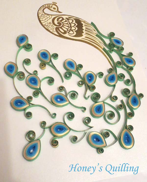Paper quilling peacock design in frame wedding gift - Honey's Quilling