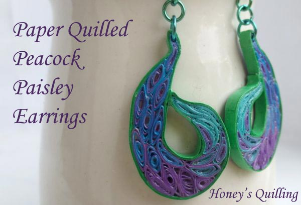 Paper Quilled Paisley Peacock Earrings Using Transitioning