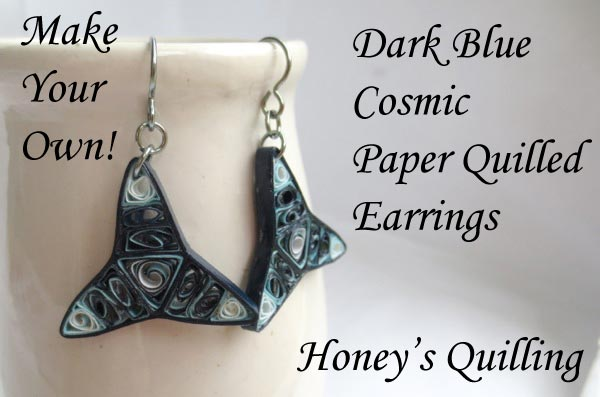Dark Blue Cosmic Paper Quilled Earrings – Make Your Own