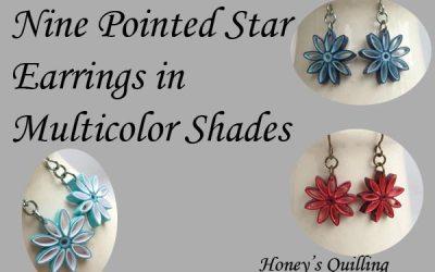 Multicolor Nine Pointed Star Earrings