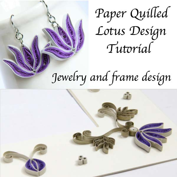 purple paper quilled lotus frame design with tutorial - Honey's Quilling