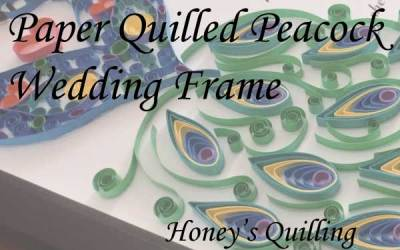 Large Paper Quilled Peacock Frame for Wedding
