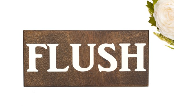 wood flush sign