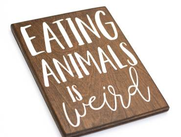 vegetarian wood signs