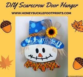 DIY Scarecrow door hanger, wooden door hanger