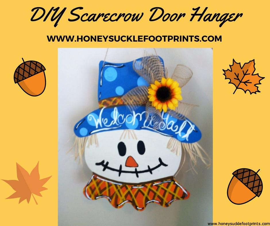 DIY Scarecrow door hanger, wooden door hanger