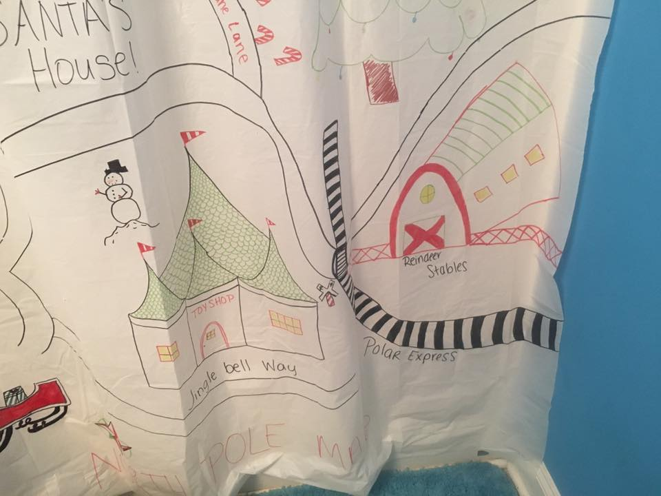 elf on the shelf ideas, Creative & unique elf ideas, shower curtain of the north pole