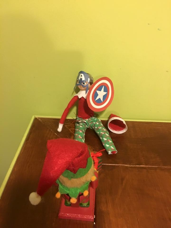 elf on the shelf ideas, Creative & unique elf ideas, Captain America