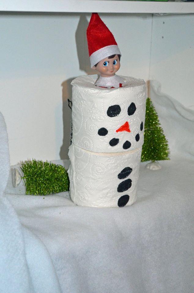 Unique Elf Ideas, creative, Elf on the Shelf, Elf Snowman
